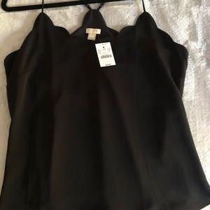 JCrew SZ 10 scalloped black camisole NWT